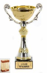 Кубок подарочный Чаша золотая с серебр.рельефными ручками Лучшей начальнице