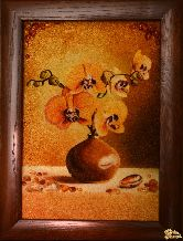 Картина из янтаря Желтая орхидея