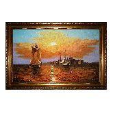 Золотой закат солнца картина из янтаря